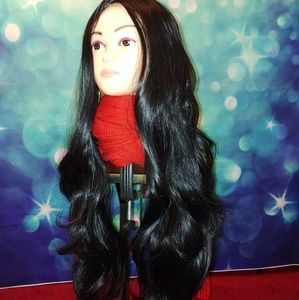 Very long black wavy wig Q t 471